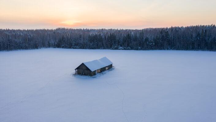 Drone photography snowy landscapes in Estonia